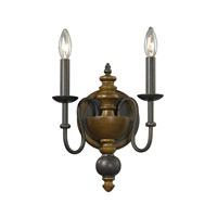 ELK Lighting French Country 2 Light Wall Sconce in Vintage Rust 14185/2
