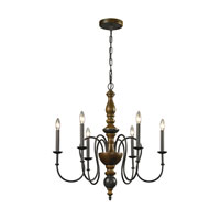 ELK Lighting French Country 6 Light Chandelier in Vintage Rust 14186/6