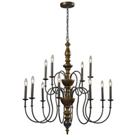 ELK Lighting French Country 12 Light Chandelier in Vintage Rust 14187/8+4
