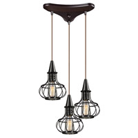 Yardley 3 Light 10 inch Oil Rubbed Bronze Mini Pendant Ceiling Light in Triangular Canopy, Triangular