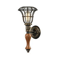 ELK Lighting Spun Wood 1 Light Wall Sconce in Vintage Rust 14231/1