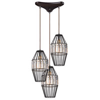 ELK 14248/3 Yardley 3 Light 17 inch Oil Rubbed Bronze Pendant Ceiling Light in Triangular Canopy