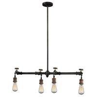 Jonas 4 Light 10 inch Weathered Multitone Chandelier Ceiling Light