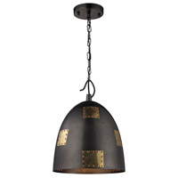 ELK Lighting Strasburg 1 Light Pendant in Weathered Iron with Antique Gold 14291/1