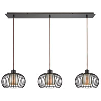 Yardley 3 Light 36 inch Oil Rubbed Bronze Pendant Ceiling Light, Linear Pan