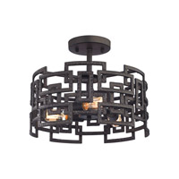 Garriston 3 Light 16 inch Clay Iron Semi Flush Mount Ceiling Light