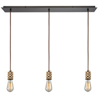 ELK 14391/3LP Camley 3 Light 36 inch Oil Rubbed Bronze with Polished Gold Mini Pendant Ceiling Light in Linear, Linear