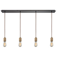 ELK 14391/4LP Camley 4 Light 46 inch Oil Rubbed Bronze with Polished Gold Mini Pendant Ceiling Light in Linear, Linear