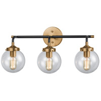 Boudreaux 3 Light 24 inch Matte Black and Antique Gold Vanity Wall Light