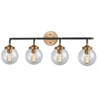 Boudreaux 4 Light 33 inch Matte Black and Antique Gold Vanity Wall Light