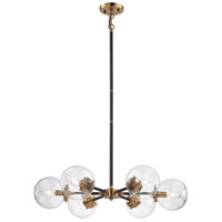 Boudreaux 6 Light 28 inch Matte Black,Antique Gold Chandelier Ceiling Light