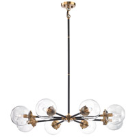 Boudreaux 8 Light 36 inch Matte Black,Antique Gold Chandelier Ceiling Light