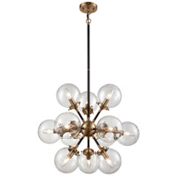 ELK 14434/12 Boudreaux 12 Light 25 inch Antique Gold with Matte Black Chandelier Ceiling Light