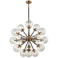 Boudreaux 18 Light 32 inch Matte Black and  Antique Gold Chandelier Ceiling Light