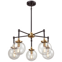 Boudreaux 5 Light 23 inch Matte Black and Antique Gold Chandelier Ceiling Light