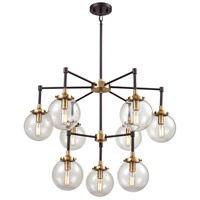 Boudreaux 9 Light 30 inch Matte Black and Antique Gold Chandelier Ceiling Light