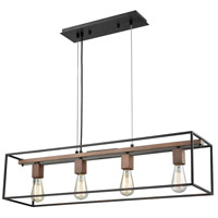 Rigby 4 Light 36 inch Oil Rubbed Bronze with Tarnished Brass Chandelier Ceiling Light