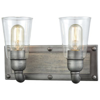 Platform 2 Light 13 inch Weathered Zinc with Washed Wood Vanity Wall Light