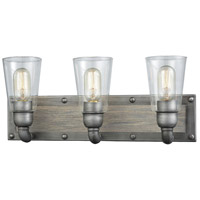Platform 3 Light 20 inch Weathered Zinc with Washed Wood Vanity Wall Light