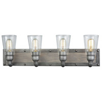 Platform 4 Light 27 inch Weathered Zinc with Washed Wood Vanity Wall Light