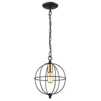 ELK 14510/1 Loftin 1 Light 10 inch Oil Rubbed Bronze with Satin Brass Mini Pendant Ceiling Light