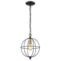 ELK 14510/1 Loftin 1 Light 10 inch Oil Rubbed Bronze with Satin Brass Mini Pendant Ceiling Light