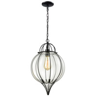 ELK 14521/1 Adriano 1 Light 12 inch Gloss Black Pendant Ceiling Light