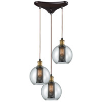 Bremington 3 Light 10 inch Oil Rubbed Bronze with Tarnished Brass Pendant Ceiling Light, Triangle Pan