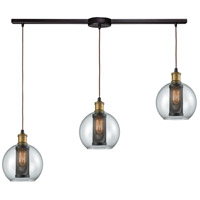 Bremington 3 Light 36 inch Oil Rubbed Bronze with Tarnished Brass Linear Bar Pendant Ceiling Light
