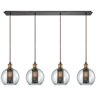 Bremington 4 Light 46 inch Oil Rubbed Bronze with Tarnished Brass Pendant Ceiling Light, Linear Pan
