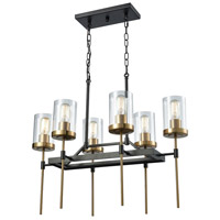 ELK 14551/6 North Haven 6 Light 27 inch Oil Rubbed Bronze with Satin Brass Chandelier Ceiling Light