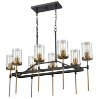 North Haven 8 Light 38 inch Oil Rubbed Bronze with Satin Brass Chandelier Ceiling Light
