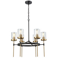 North Haven 6 Light 25 inch Oil Rubbed Bronze with Satin Brass Chandelier Ceiling Light