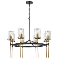 North Haven 8 Light 31 inch Oil Rubbed Bronze with Satin Brass Chandelier Ceiling Light