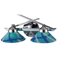 Refraction 2 Light 16 inch Polished Chrome Vanity Wall Light in Carribean Glass