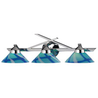 Refraction 3 Light 25 inch Polished Chrome Vanity Wall Light in Carribean Glass
