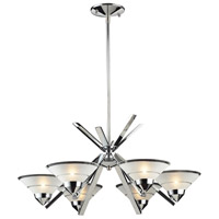 ELK 1475/6 Refraction 6 Light 26 inch Polished Chrome Chandelier Ceiling Light in Etched Clear