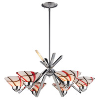 Refraction 6 Light 26 inch Polished Chrome Chandelier Ceiling Light in Creme White Glass