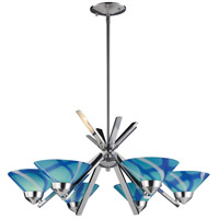 ELK 1475/6CAR Refraction 6 Light 26 inch Polished Chrome Chandelier Ceiling Light in Carribean