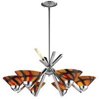 ELK 1475/6JAS Refraction 6 Light 26 inch Polished Chrome Chandelier Ceiling Light in Jasper Glass