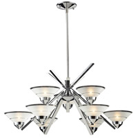 ELK 1476/6+3 Refraction 9 Light 31 inch Polished Chrome Chandelier Ceiling Light in Etched Clear Glass photo thumbnail