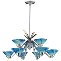 Refraction 9 Light 31 inch Polished Chrome Chandelier Ceiling Light in Carribean Glass