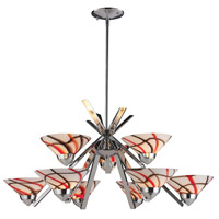 Refraction 9 Light 31 inch Polished Chrome Chandelier Ceiling Light in Creme White Glass