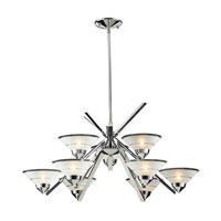 ELK 1476/6+3 Refraction 9 Light 31 inch Polished Chrome Chandelier Ceiling Light in Etched Clear Glass