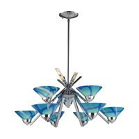 ELK 1476/6+3CAR Refraction 9 Light 31 inch Polished Chrome Chandelier Ceiling Light in Carribean Glass