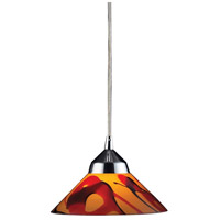 Refraction 1 Light 7 inch Polished Chrome Pendant Ceiling Light in Jasper Glass