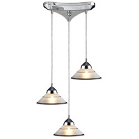 Refraction 3 Light 10 inch Polished Chrome Pendant Ceiling Light in Etched Clear Glass