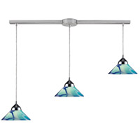 Refraction 3 Light 36 inch Polished Chrome Pendant Ceiling Light in Carribean Glass