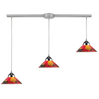 Refraction 3 Light 36 inch Polished Chrome Pendant Ceiling Light in Jasper Glass