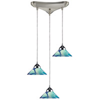 Refraction 3 Light 10 inch Polished Chrome Mini Pendant Ceiling Light in Carribean, Triangular Canopy, Triangular